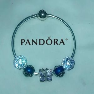 Pandora bangle +5 pandora butterfly charms set